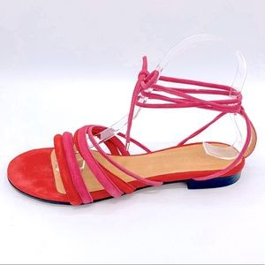 IRO Red Pink Suede Leather Strappy Sandals 39
